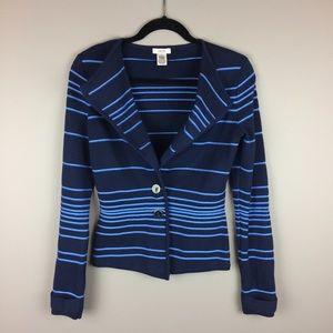 Cache blue stripe fitted knit cardigan blazer